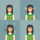 Lustige Zeichentrickfilm-Figur Trauriges verärgertes verwirrtes der Büroangestellt-Ruhe Frauenvektorillustration Lizenzfreies Stockbild