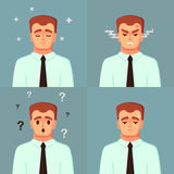 Lustige Zeichentrickfilm-Figur Trauriges verärgertes verwirrtes der Büroangestellt-Ruhe Mannvektorillustration Stockbilder