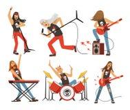 Lustige Zeichentrickfilm-Figuren im Rockband Musiker in der berühmten Popgruppe Vektormaskottchensatz lizenzfreie abbildung