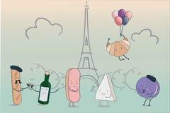 Lustige Zeichentrickfilm-Figuren stellten vom traditionellen französischen Lebensmittel mit skizziertem Eiffelturm auf Hintergrun lizenzfreie abbildung
