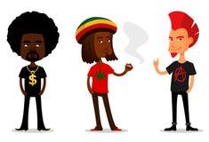 Lustige Zeichentrickfilm-Figuren von Kerlen mit Haltung Stockbilder