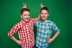 Lustige Zwillinge Stockbilder