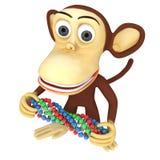 lustiger Affe 3d mit DNA-Kette Stockfotografie