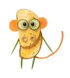 Lustiger Affe gemacht vom Brot und vom Gemüse Lizenzfreie Stockfotografie