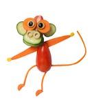 Lustiger Affe gemacht vom Gemüse Stockfotografie