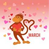 Lustiger Affe mit Herzen Stockfoto