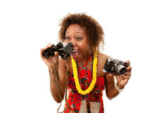Lustiger African-Americantourist Lizenzfreie Stockbilder