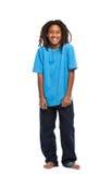 Lustiger afrikanischer Junge getrennt auf Weiß Stockfoto