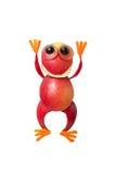 Lustiger Apfelfrosch mit den Händen oben Stockbild