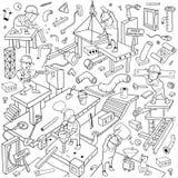 Lustiger Arbeiter Abdeckungs-Muster- Hintergrund für im Bau Thema lizenzfreie abbildung