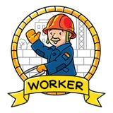 Lustiger Architekt mit einem Hammer und einem Ziegelstein emblem Beruf ABC-Reihe Stockbilder