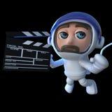 lustiger Astronautenraumfahrer der Karikatur 3d, der einen Film im Raum macht stock abbildung