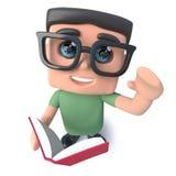 lustiger Aussenseitersonderlings-Hackercharakter der Karikatur 3d, der ein Buch liest Stockfoto