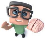 lustiger Aussenseitersonderlings-Hackercharakter der Karikatur 3d, der ein menschliches Gehirn hält Stockbilder