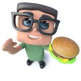 lustiger Aussenseitersonderlings-Hackercharakter der Karikatur 3d, der einen Cheeseburger isst Lizenzfreies Stockfoto