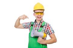 Lustiger Bauarbeiter mit Lautsprecher Stockfoto