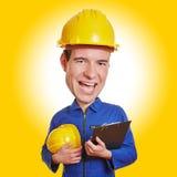 Lustiger Bauarbeiter mit Sturzhelm Stockfotografie