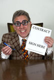 Lustiger benutztes Auto-Verkäufer oder gekrümmter Banker, Rechtsanwalt Lizenzfreies Stockfoto