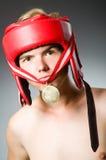 Lustiger Boxer mit dem Gewinnen Stockfoto
