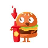 Lustiger Burger mit den großen Augen, die eine rote Flasche Ketschup stehen und halten Netter Charaktervektor emoji Schnellimbiß  Lizenzfreie Stockfotografie