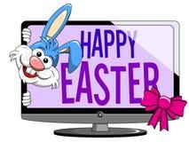 Lustiger Charakter oder Maskottchen der Karikatur, die von glücklichem Ostern-Modus spähen Stockbild