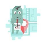 Lustiger Charakter verwendet geolocation Anwendung Lizenzfreies Stockbild