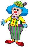 Lustiger Clown in den großen Hosen Stockbild