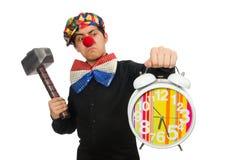 Lustiger Clown lokalisiert auf Weiß Stockbild