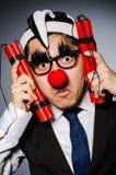 Lustiger Clown mit Stöcken Lizenzfreies Stockfoto