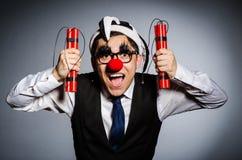 Lustiger Clown mit Stöcken Lizenzfreies Stockbild