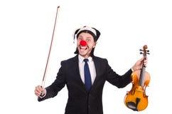 Lustiger Clowngeschäftsmann lokalisiert Stockfotos