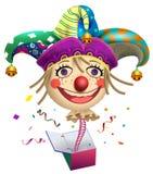 Lustiger Clownpossenreißerkopf, zum vom Kasten herauszuspringen Dummkopf-Tagessymbol stock abbildung