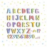 Lustiger Comics-Schrifttyp Übergeben Sie gezogenem lowcase bunte Karikatur Buchstaben des englischen Alphabetes Auch im corel abg lizenzfreie abbildung