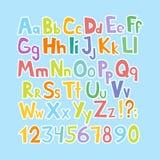 Lustiger Comics-Schrifttyp Übergeben Sie gezogenes lowcase und bunte Versalienkarikatur englisches Alphabet mit den unteren und V Lizenzfreies Stockfoto