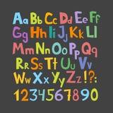 Lustiger Comics-Schrifttyp Übergeben Sie gezogenes lowcase und bunte Versalienkarikatur englisches Alphabet mit den unteren und V lizenzfreie abbildung