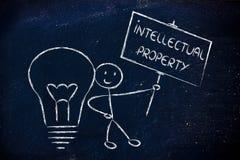 Lustiger Copyright-Inhaber-Mann mit seiner Idee, Konzept des Intellektuellen Lizenzfreies Stockbild