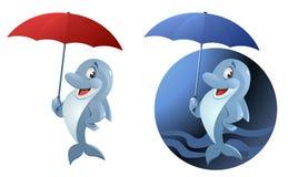 Lustiger Delphin mit Regenschirm Stockfotos