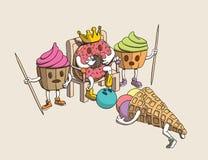 Lustiger Donut-König, Schutz der kleinen Kuchen erschrocken durch den gefallenen Kopf der Kegel-Eiscreme lizenzfreie abbildung