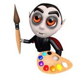 lustiger Dracula-Vampirscharakter der Karikatur 3d, der einen Malerpinsel und eine Palette hält Stockfotografie
