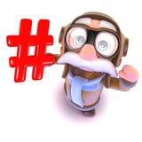 lustiger Fluglinienpilotcharakter der Karikatur 3d, der ein hashtag Internet-Symbol hält Stockbild