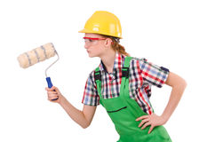 Lustiger Frauenmaler im Baukonzept lokalisiert Stockfoto