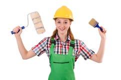 Lustiger Frauenmaler im Baukonzept lokalisiert Lizenzfreie Stockfotos