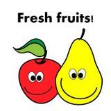 Lustiger frischer Apfel und Birne der Vektorillustration Lizenzfreies Stockbild