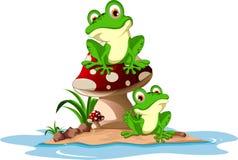 Lustiger Frosch, der auf Pilz sitzt Stockfotos