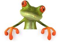 Lustiger Frosch mit einem unbelegten Zeichen Lizenzfreie Stockbilder