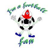 Lustiger Fußball mit emporgeragter Kappe auf einem weißen Hintergrund Vector Illustration, Druck, Fußballcharakter mit Beschriftu Stockbild