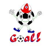 Lustiger Fußball mit emporgeragter Kappe auf einem weißen Hintergrund Vector Illustration, Druck, Fußballcharakter mit Beschriftu Lizenzfreies Stockfoto