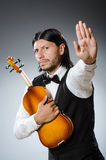 Lustiger Geigenviolinenspieler Stockfotos