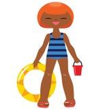 Lustiger gekleideter Badeanzug des kleinen Mädchens Lizenzfreies Stockbild
