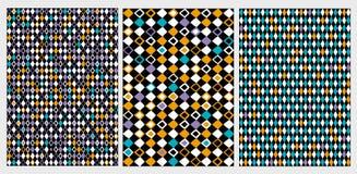 Lustiger geometrischer abstrakter Vektor-Muster-Satz Bunte Rauten auf schwarze Hintergründe stock abbildung